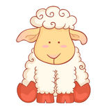 Cute sheep character of chinese new year symbol. Cute cartoon baby sheep character of chinese new year symbol isolated on white background vector illustration