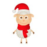 Cute sheep in a Christmas hat. And scarf Royalty Free Stock Photo