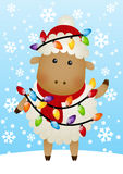 Cute sheep with Christmas light bulbs Stock Photos
