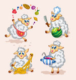 Cute sheep cooks Royalty Free Stock Images