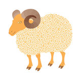 Cute sheep with curl. Symbol 2015 - vector illustration for design Royalty Free Stock Photos