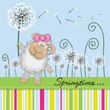Cute Sheep with dandelion. Greeting card Cute Sheep with dandelion on a meadow royalty free illustration