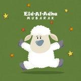 Cute Sheep for Eid-Al-Adha Mubarak. Cute Baby Sheep on stars decorated background, Vector greeting card for Muslim Community, Festival of Sacrifice, Eid-Al-Adha Royalty Free Stock Image