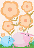 Cute Sheep_eps. Illustration of cute sheep with flowers land on light orange background Royalty Free Stock Photo