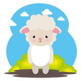 Cute sheep in the field landscape character. Vector illustration design Royalty Free Stock Image