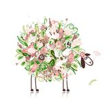 Cute sheep, floral style for your design Royalty Free Stock Photography