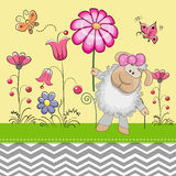 Cute Sheep with a Flower stock illustration