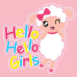 Cute sheep girl says hello girls  cartoon illustration for kid t shirt design Royalty Free Stock Photo