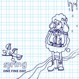 Cute sheep girl with ship.Spring Sketchy notepaper Royalty Free Stock Photo