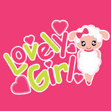Cute sheep girl smiles  cartoon illustration for kid t shirt design Stock Image