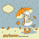 Cute sheep girl with umbrella under rain.Autumn Stock Photos