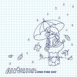 Cute sheep girl with umbrella under rain.Sketchy Stock Photos