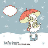 Cute sheep girl with umbrella .Winter doodle Royalty Free Stock Photos