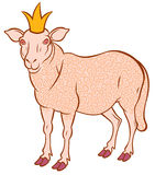 Cute sheep. With golden curl and crown - symbol 2015 - vector illustration for design Royalty Free Stock Image
