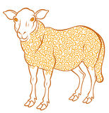 Cute sheep. With golden curl - symbol 2015 - vector illustration for design Stock Photos