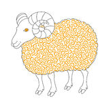 Cute sheep with golden curl. Symbol 2015 - vector illustration for design Stock Photo