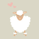 Cute sheep illustration with little pink heart feeling lovely. Royalty Free Stock Photos