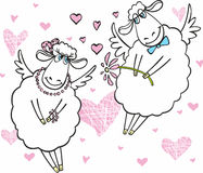 Cute sheep in love. Cute sheep on white background with pink hearts Stock Photography