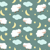 Cute sheep in the night sky with stars moon and clouds seamless pattern background illustration Stock Image
