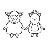 Cute sheep and reindeer childish royalty free illustration