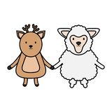 Cute sheep and reindeer childish vector illustration