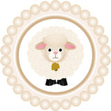 Cute Sheep Round Label Royalty Free Stock Images