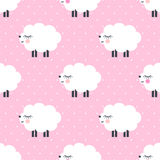 Cute sheep seamless pattern on pink polka dots background. Royalty Free Stock Photography
