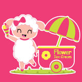 Cute sheep sells ice cream  cartoon illustration for kid t shirt design. Nursery wall, and wallpaper Royalty Free Stock Images