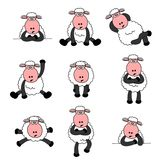 Cute Sheep Set Stock Images
