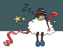 Cute sheep sleeping banner Royalty Free Stock Images