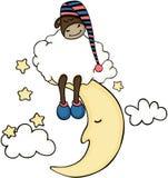 Cute sheep sleeping on a moon Royalty Free Stock Photos