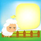 Cute Sheep text box 002 Stock Images