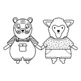 Cute sheep and tiger with umbrella royalty free illustration