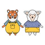 Cute sheep and tiger with umbrella vector illustration
