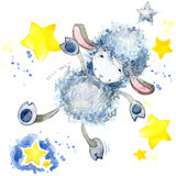 Cute sheep. watercolor illustration. Sheep T-shirt design. Sheep and Stars Background Stock Photo