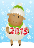 Cute sheep on winter background. With 2015 number Royalty Free Stock Photo
