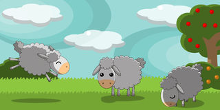 Cute sheeps in a countryside landscape. Illustration about three cute sheeps having fun in the country on a sunny spring day Royalty Free Stock Photography