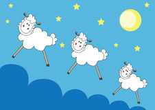 Cute sheeps over night sky Stock Photo