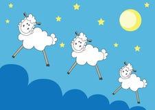 Cute sheeps over night sky Stock Photo