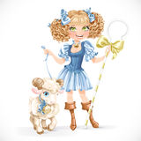 Cute shepherdess with lamb Royalty Free Stock Photography