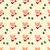 Cute Shiba dog seamless pattern. Lovely pet concept royalty free illustration