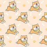 Cute shiba inu Seamless Pattern Background royalty free illustration
