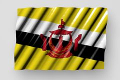 Cute shining flag of Brunei Darussalam with large folds lying flat isolated on grey - any occasion flag 3d illustration. Nice memorial day flag 3d illustration stock illustration