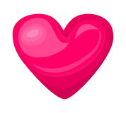 Cute shiny pink heart icon isolated on white background Stock Photography