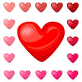 Cute shiny red pink heart icons set isolated on white background Stock Photography