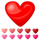 Cute shiny red pink heart icons set  on white background Stock Photography