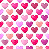 Cute shiny seamless heart pattern  on white background Stock Photography