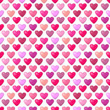 Cute shiny seamless heart pattern  on white background Stock Photo