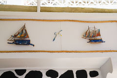 Cute ships for decoration in Santorini,Greece. Royalty Free Stock Photography