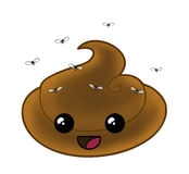 Cute Shit. Very sympathetic poop surrounded by artful flies Royalty Free Stock Image